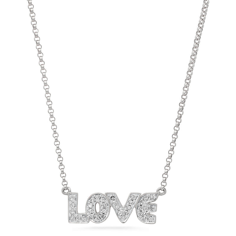 Diamond Block Letter Love Necklace