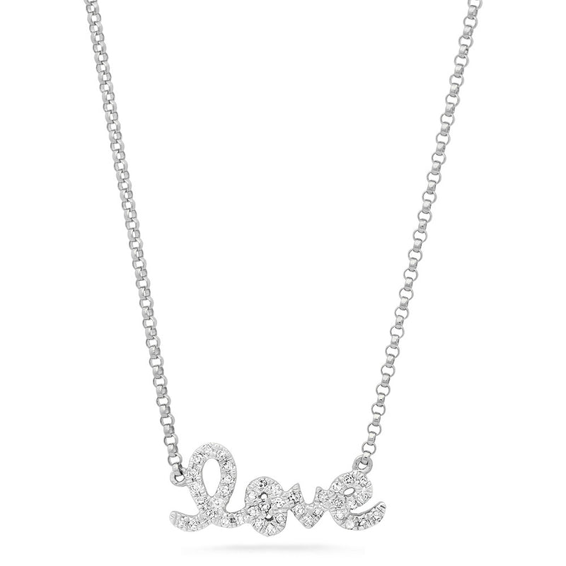 Diamond Mini Script Love Necklace