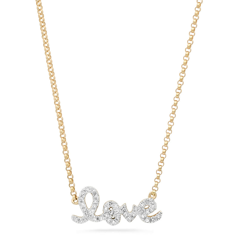 14k solid yellow gold diamond script love necklace