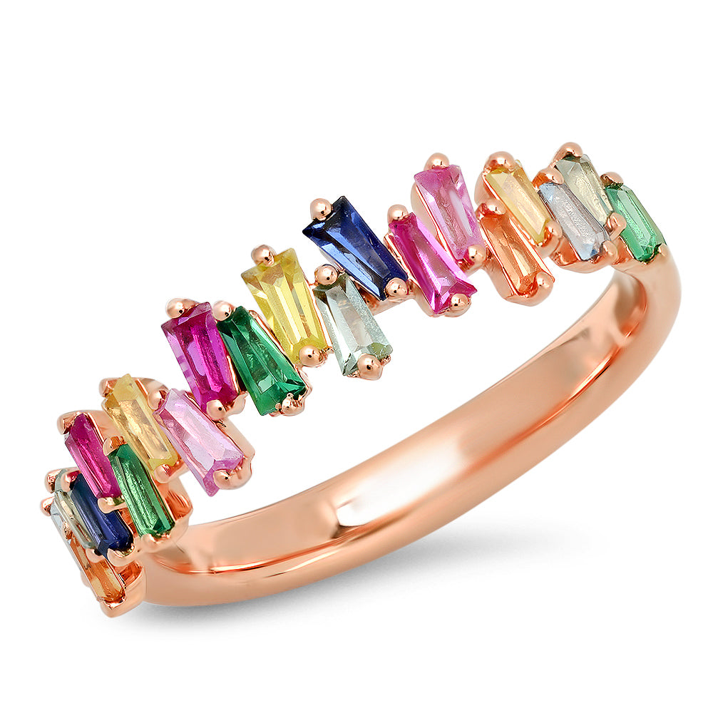 Baguette Multi Color Ring