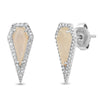 Diamond Moonstone Pointed Kite Stud
