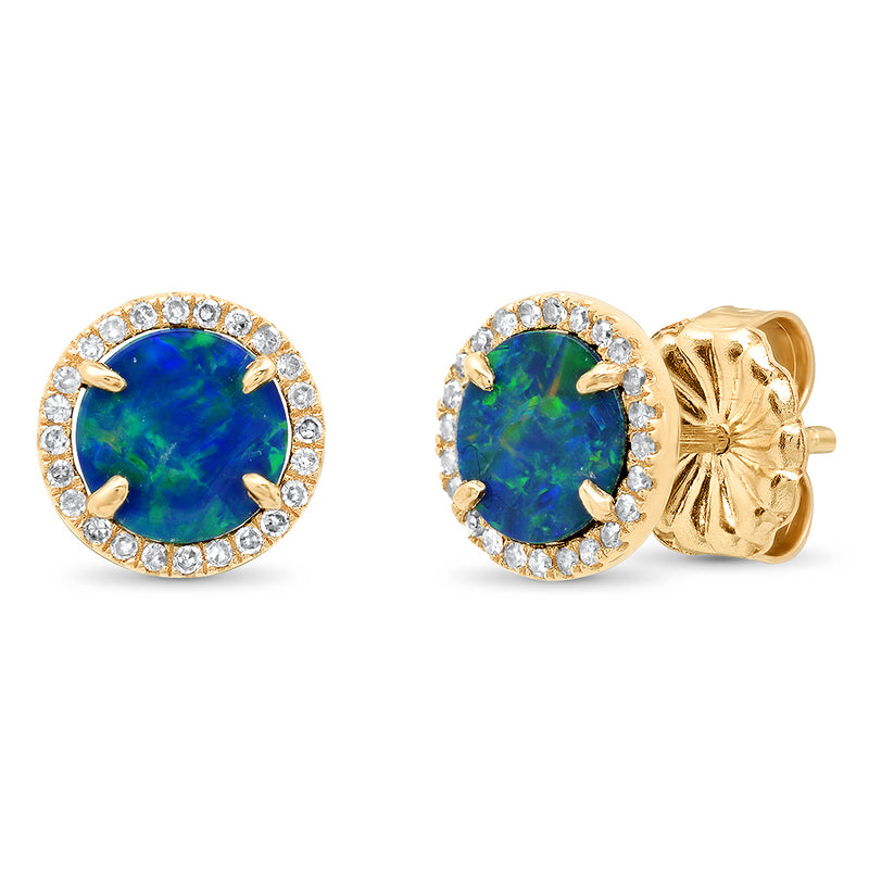 14k yellow gold opal diamond round circle stud earring