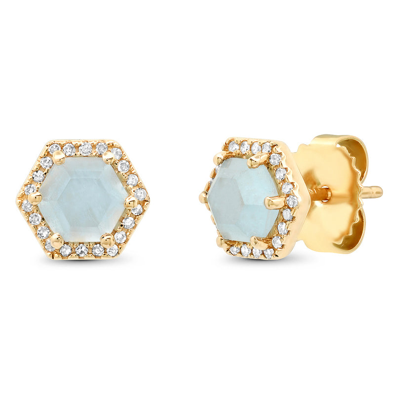 Diamond Hexagon Aqua Stud