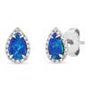 Opal Diamond Teardrop Stud