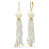 Diamond and Pearl Moonstone Tassle Earring