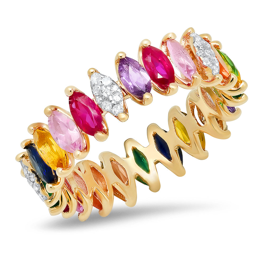 Diamond and Multi Color Marquise Eternity Band