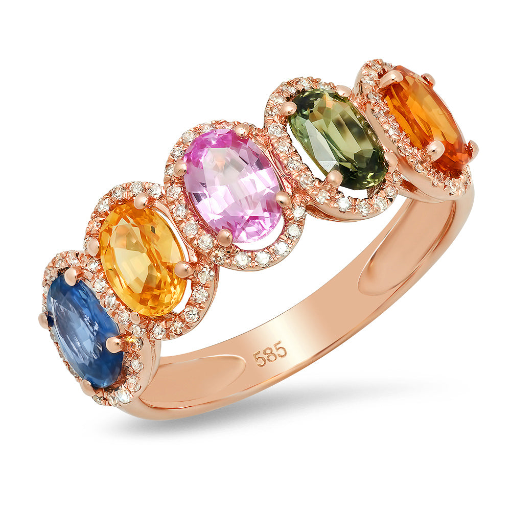 Multi Color Halo Oval Ring