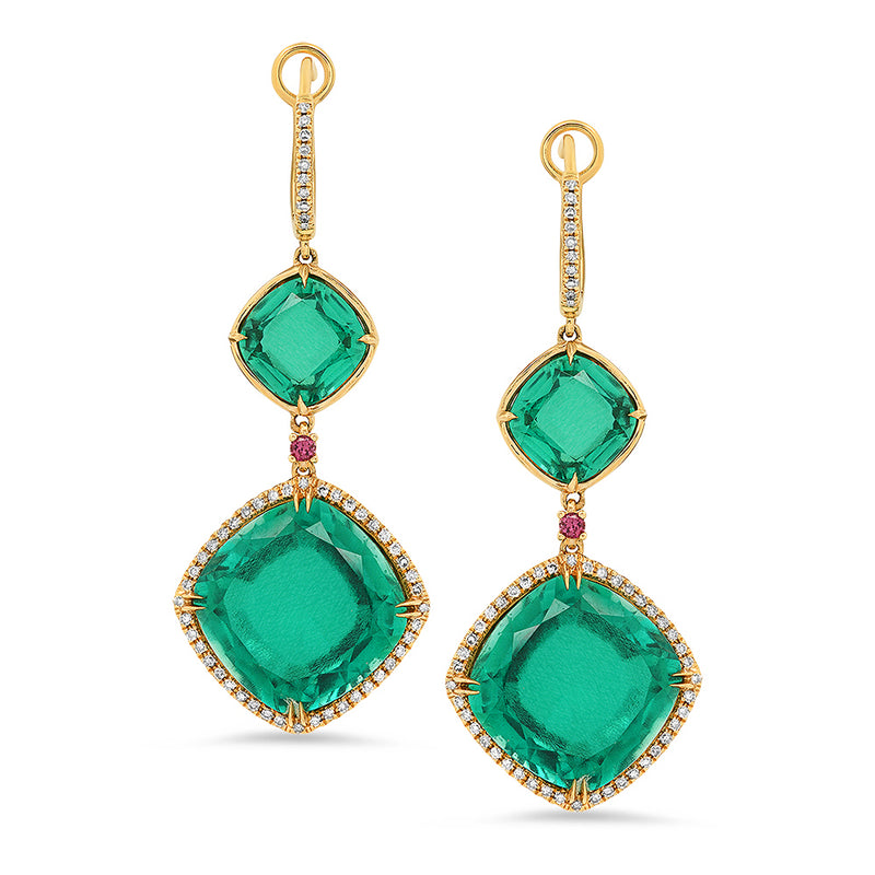 Pink Sapphire and Emerald Doublet Drop Diamond Earring