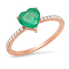 14k rose gold diamond band heart shape emerald solitaire ring