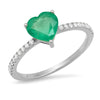 14k white gold emerald heart solitaire ring diamond thin band