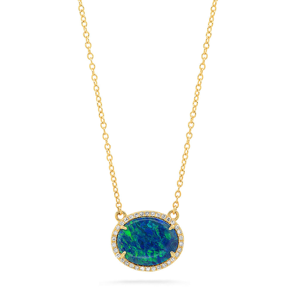 Diamond Opal Oval Necklace