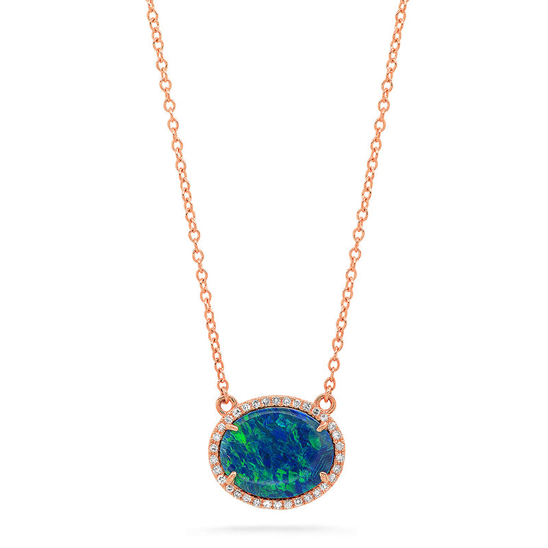 14k solid rose gold diamond opal oval necklace real october birthstone genuine diamond
