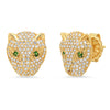 Pink Sapphire and Emerald Doublet Drop Diamond Earring (treated)