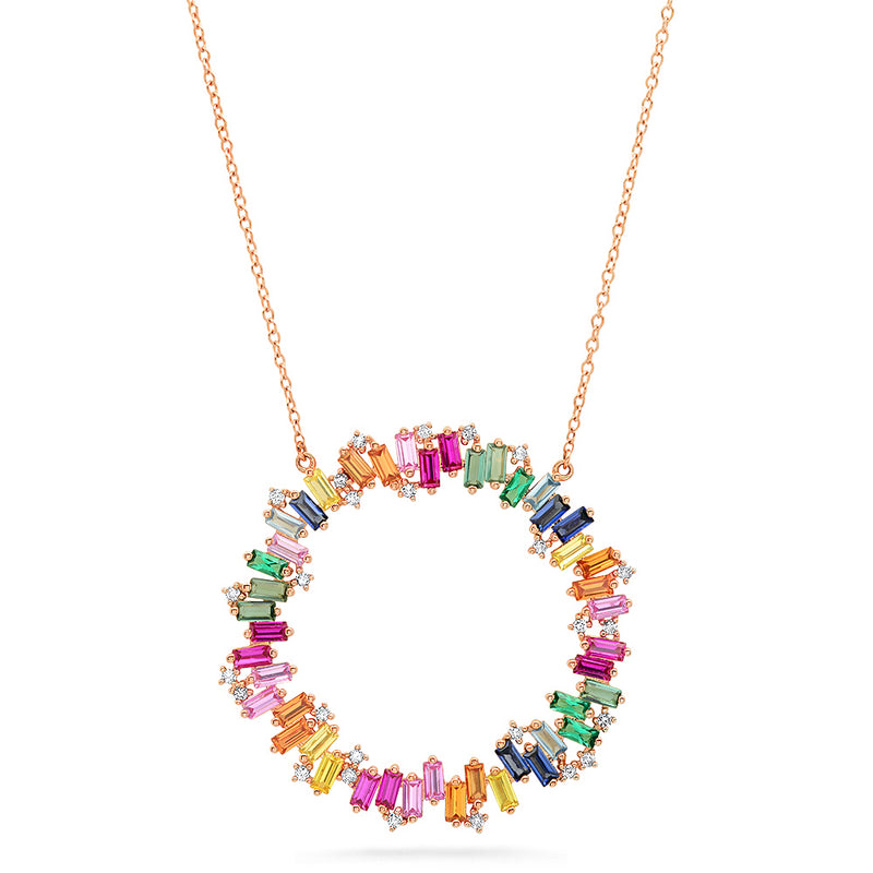 Multi Color Baguette and Diamond Eternity Necklace