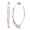 Multi Color Baguette Shaker Hoop W/ on Ear Diamond Disc