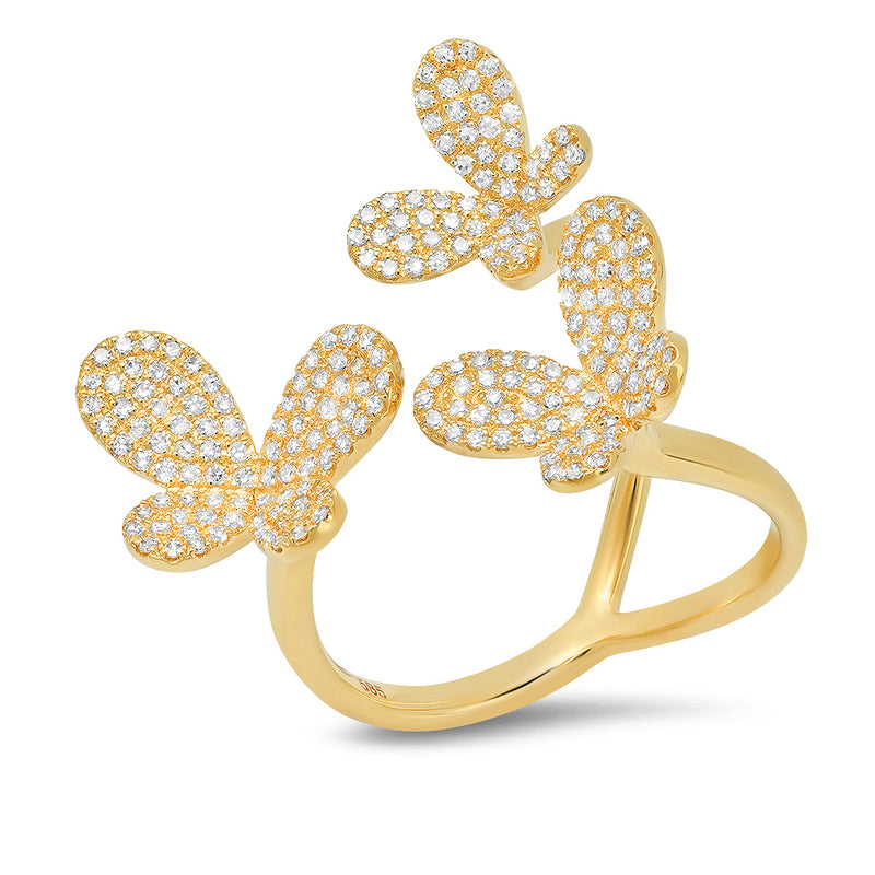 14k yellow gold diamond tri butterfly ring