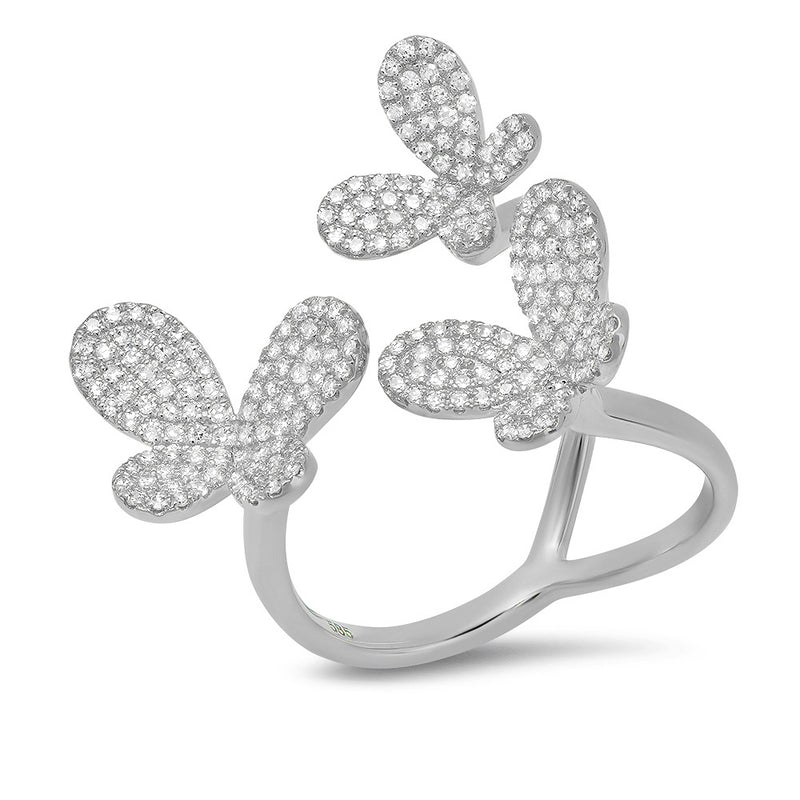 dancing butterfly invisible ring diamond