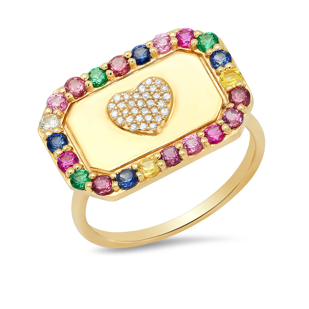 Heart Signet Multi Color Ring