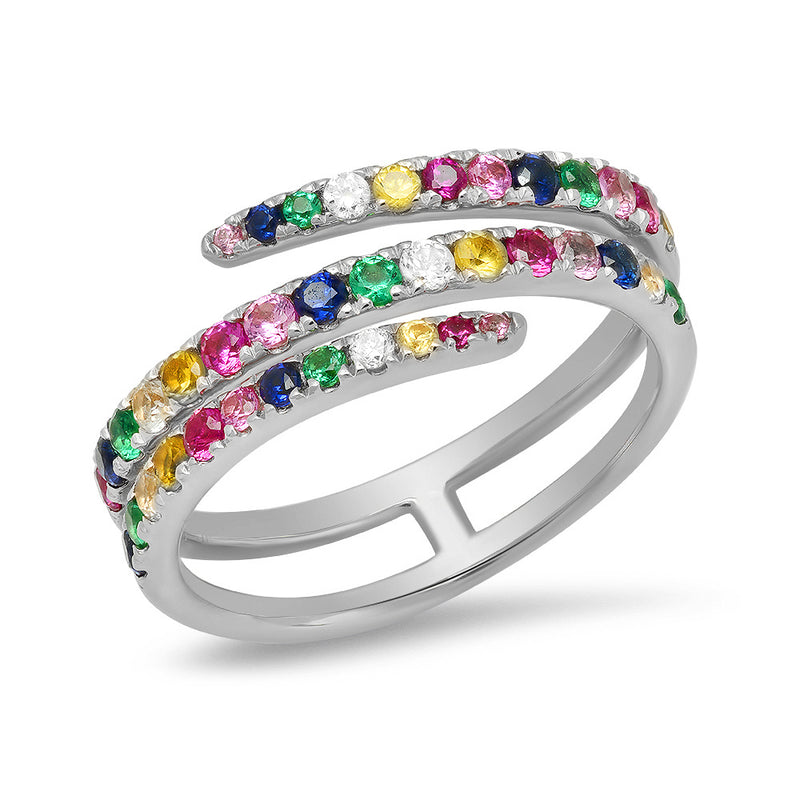 Spiral Multi Color Band Ring
