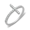 solid gold 14k diamond sideway cross ring dainty
