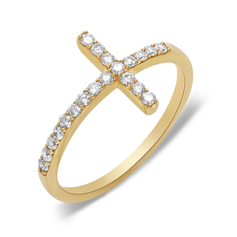 14k yellow gold diamond sideway cross ring