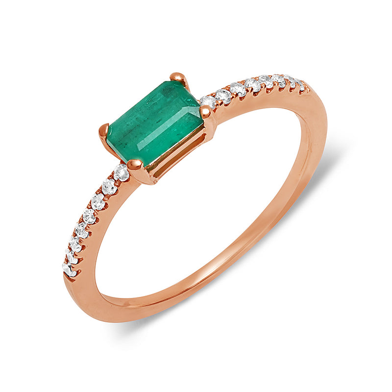 green emerald ring dainty diamond 14k rose gold