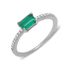 real genuine diamond emerald cut emerald green stone ring dainty fine jewelry delicate