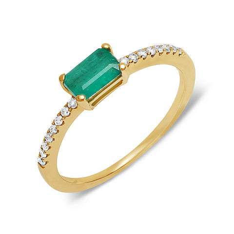 Diamond and Baguette Emerald Crossover Ring