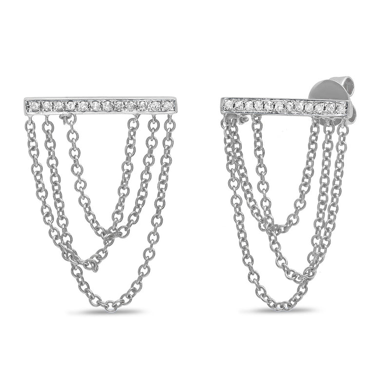 Chained Bar Stud Earring