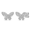 14k white gold diamond butterfly stud earrings