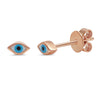 14k rose gold tiny enamel evil eye stud earring