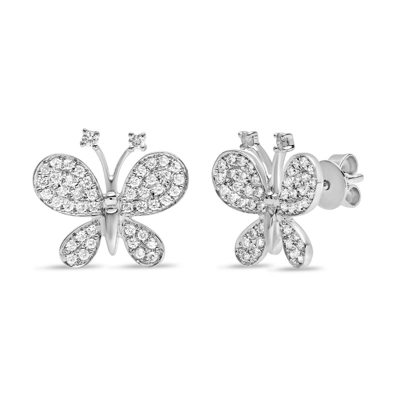 Large Diamond Butterfly Stud Earring