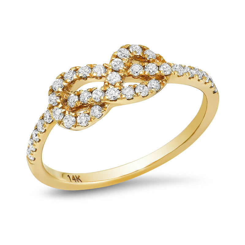 Tie the knot diamond ring 14k yellow gold and diamond