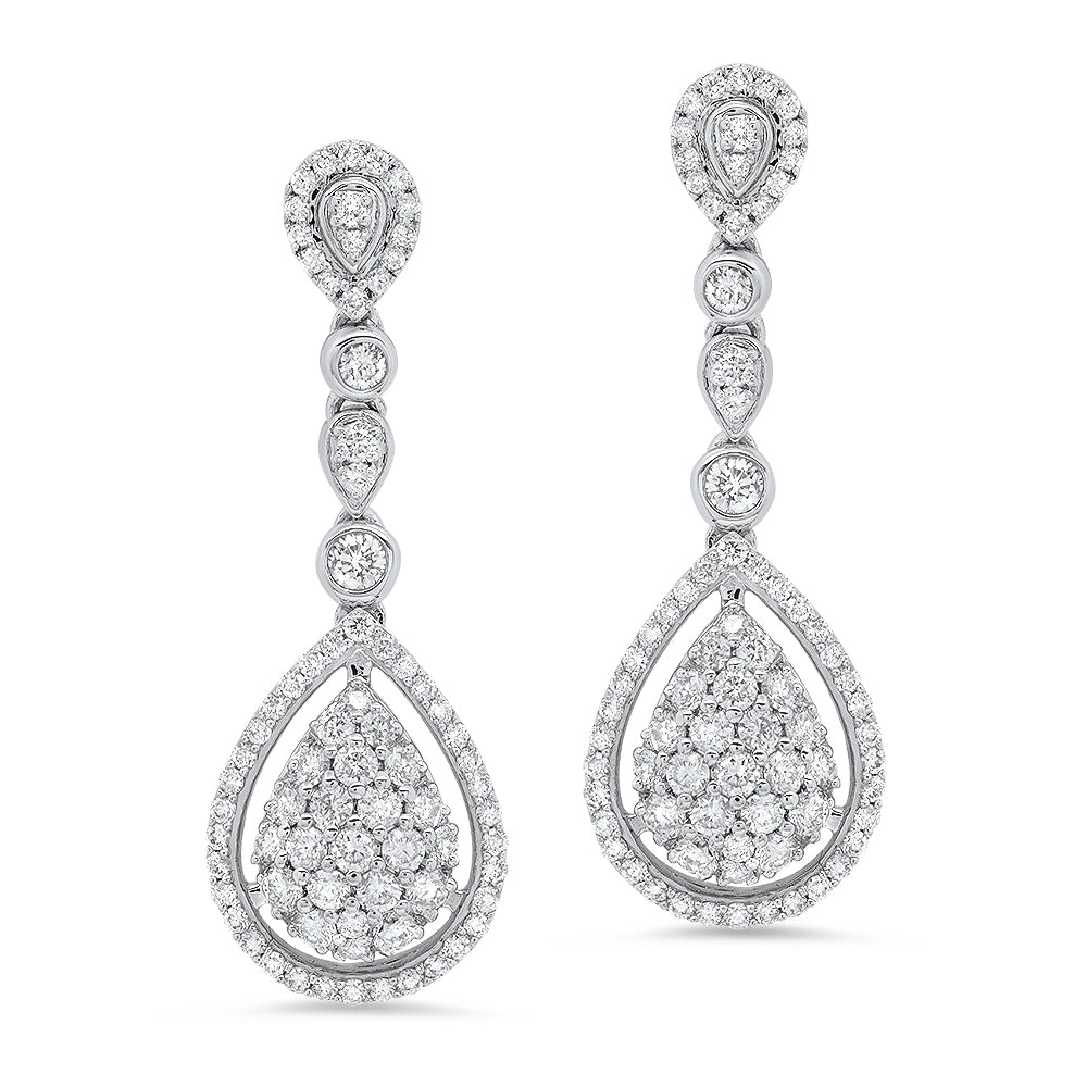 18k white gold diamond bridal drop earrings