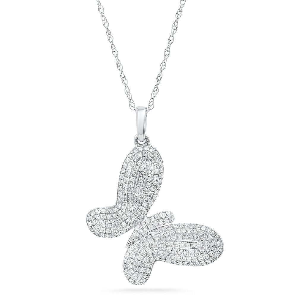 Whimsical Tilted Butterfly Pendant Necklace