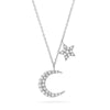 ef collection moon and star 14k solid gold neckalce