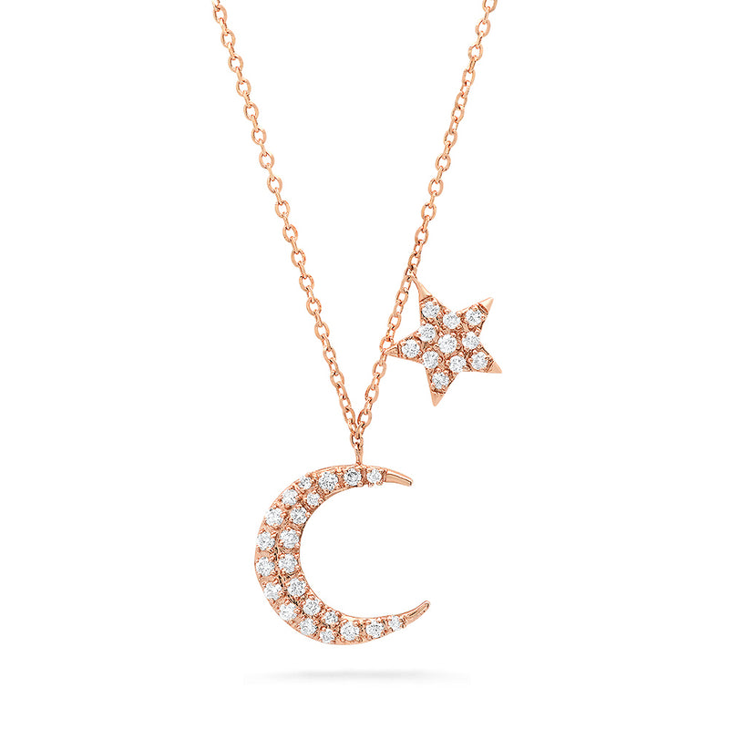 14k rose gold diamond moon and star celestial necklace