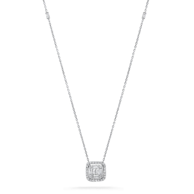 diamond and baguette halo square necklace