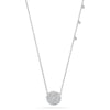 14k white gold diamond circle necklace with droplets