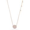 14k rose gold diamond disc necklace with droplets