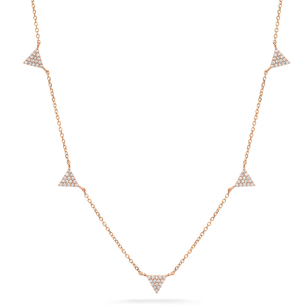 mini triangle diamond layering necklace 14k rose gold