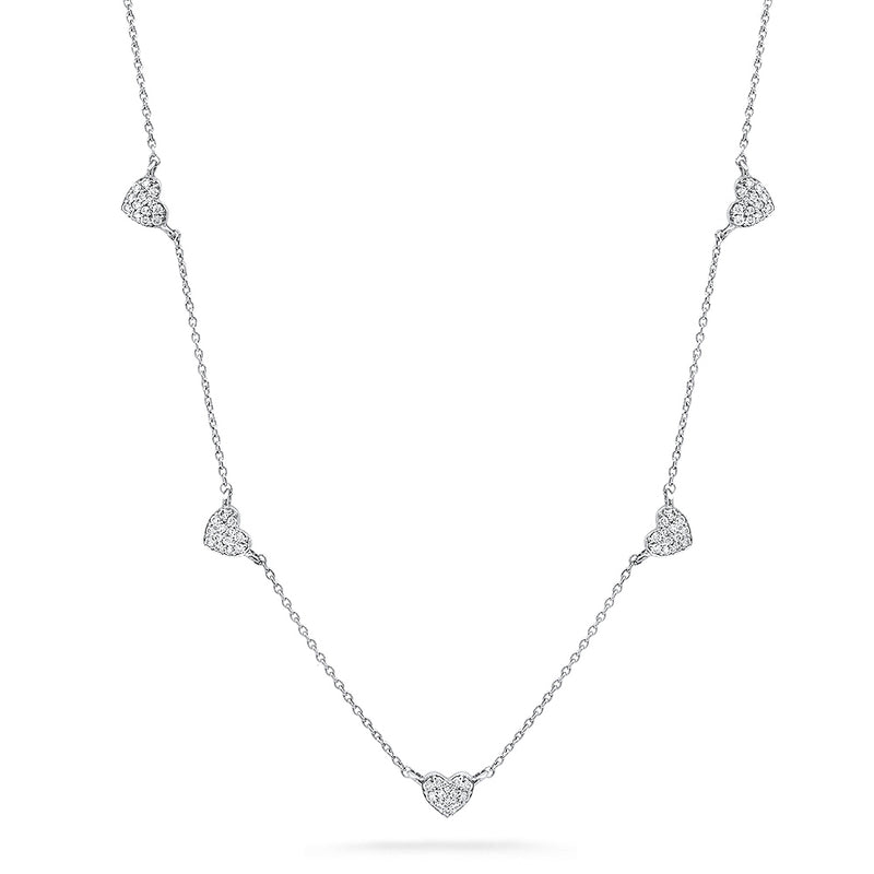 5 heart diamond necklace 14k white gold