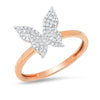 rose gold dainty ring butterfly