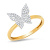 14k solid yellow gold diamond butterfly ring