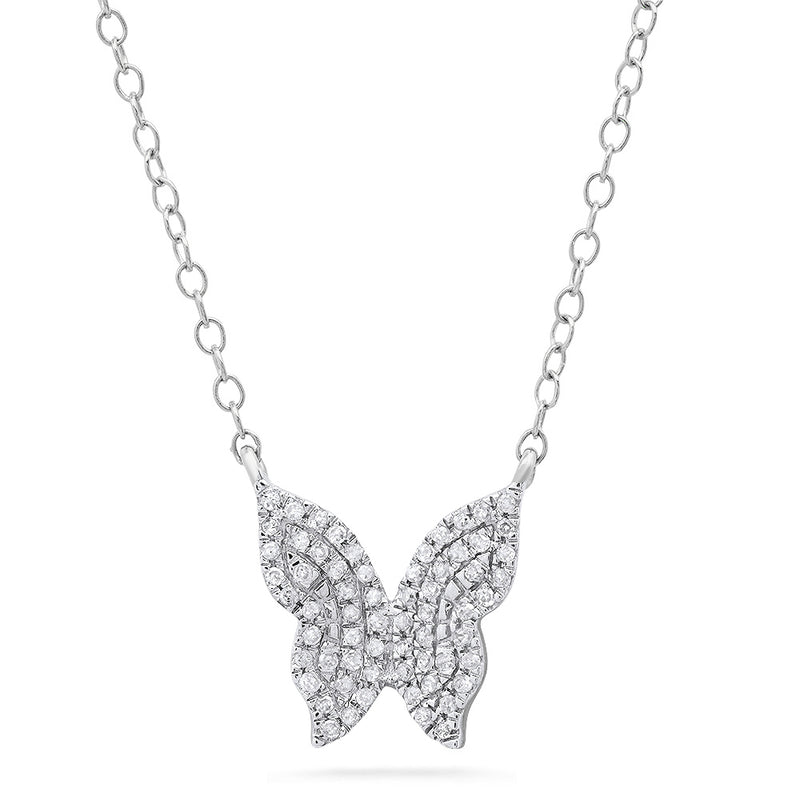 white gold layering silver butterfly pendant necklace