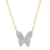 yellow gold diamond butterfly necklace layering