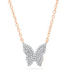 rose gold diamond butterfly necklace