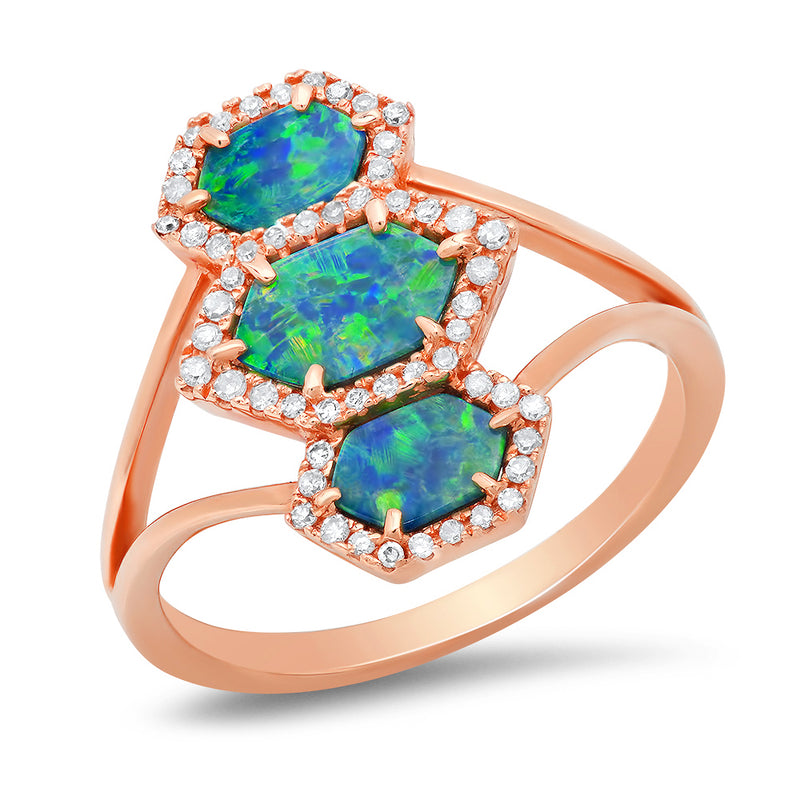 14k rose gold diamond opal ring green blue