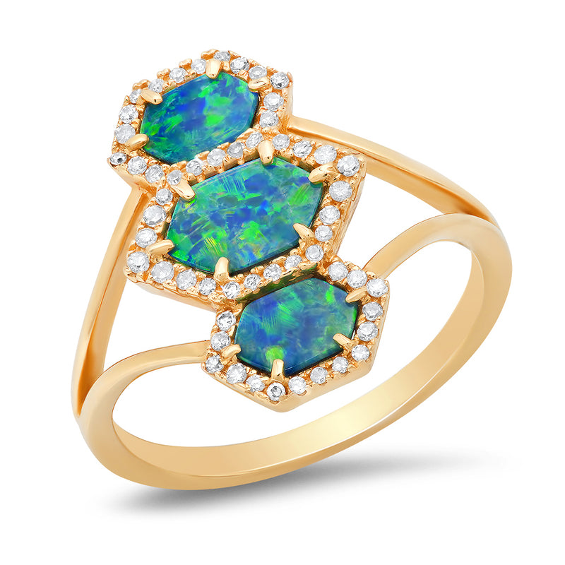 blue opal triple hexagon ring goldsmith silversmith