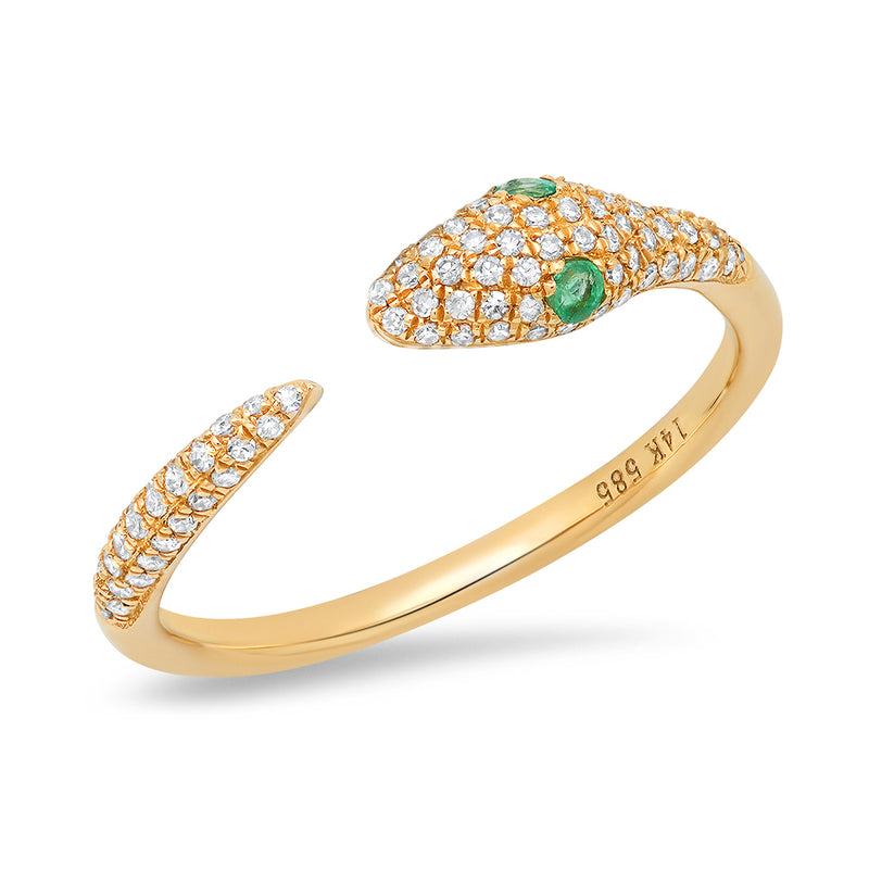 14k yellow gold diamond snake emerald eye ring
